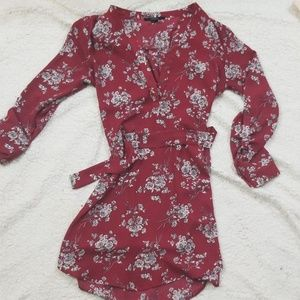 Forever 21 red floral wrap dress